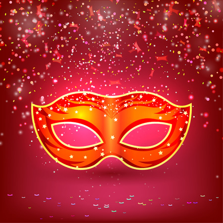 cultural: Red banner with theatrical carnival mask. Design your theater cultural events, masquerade, carnival. Vector illustration.