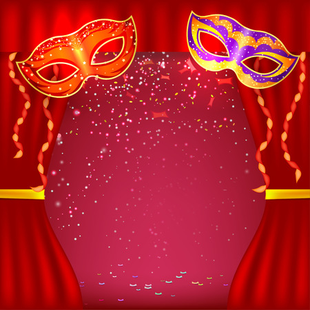 Red background with theater stage and masks. Banner for your cultural event. Red curtain. Vector illustration.