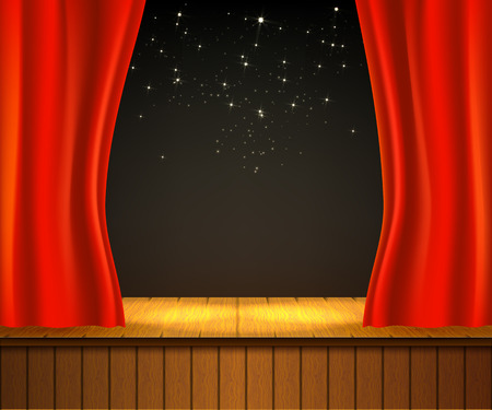 Background with theater stage. Banner for your cultural event. Red curtain, wooden scene. Vector illustration. Illustration