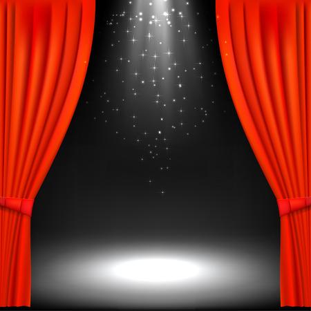 劇場の舞台と赤の劇場の幕バナーします。文化的なイベントのためのバナー。ベクトル イラスト。