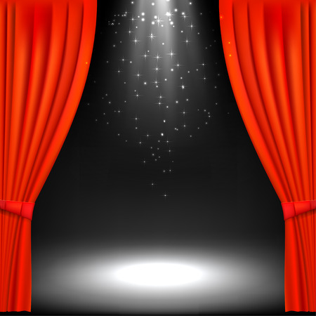 theatre symbol: Banner with theater stage and red theater curtain. Banner for your cultural event. Vector illustration.