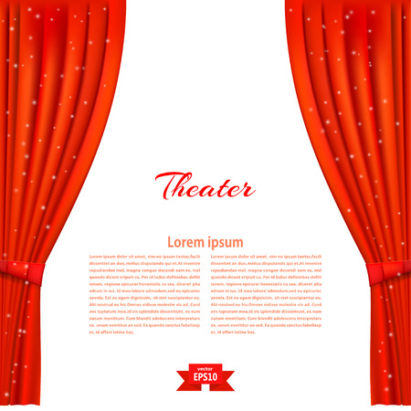 Banner with theater stage and red theater curtain. Design your theater cultural events. Vector illustration. Illustration