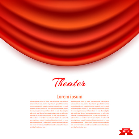 White banner with theatrical Padhuga Red theater curtain. Design your theater cultural events. Vector illustration.