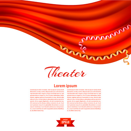 White banner with a theatrical curtain. Design your theater cultural events. Vector illustration. Christmas. New Year.