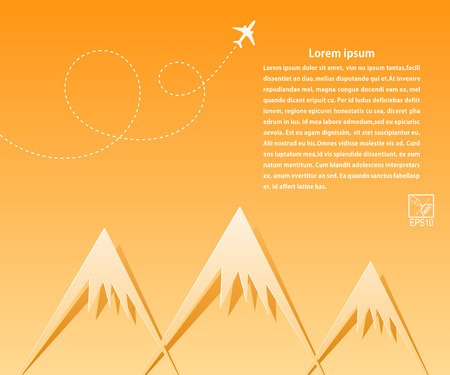 airlines: Yellow banner and airplane on the background paper mountains. Applique. Tourists travel. Design for your travel agencies, airlines. Illustration