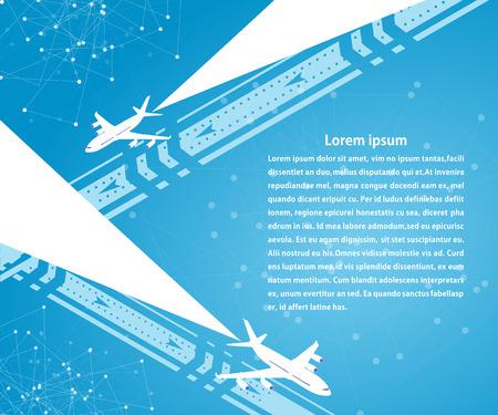 활주로에 파란색 배너 및 배경 비행기입니다. 여행. 여행사, 항공사를위한 디자인.