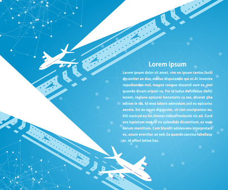 travel agencies: Blue banner and background planes on the runway. Travel. Design for your travel agencies, airlines. Illustration
