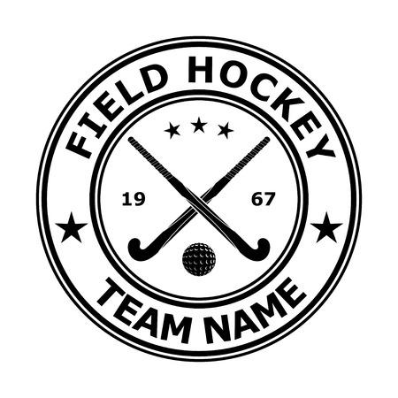 field hockey: Negro insignia emblema de hockey sobre c�sped de dise�o. Ilustraci�n vectorial