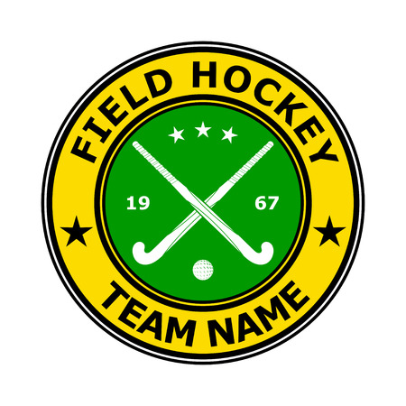 field hockey: Color badge emblem design field hockey. Vector illustration
