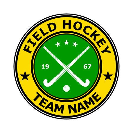 hockey sobre cesped: Color insignia del emblema del hockey de campo del dise�o. Ilustraci�n vectorial