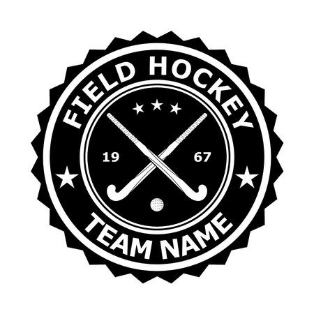 hockey sobre cesped: Negro insignia desizhn emblema para el equipo de hockey sobre césped. Ilustración vectorial Vectores