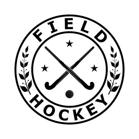 hockey sobre cesped: Negro emblema insignia para el equipo de hockey sobre c�sped sobre un fondo blanco. Ilustraci�n vectorial