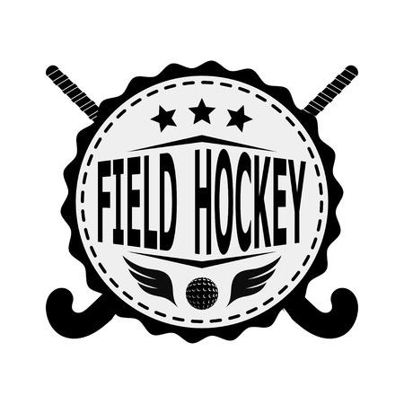 hockey sobre cesped: Dise�o de la insignia del emblema negro para el equipo de hockey sobre c�sped sobre un fondo blanco. Ilustraci�n vectorial
