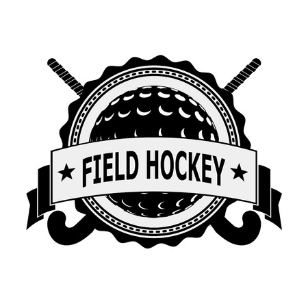 hockey sobre cesped: Insignia negro para el equipo de hockey sobre c�sped sobre un fondo blanco. Ilustraci�n vectorial