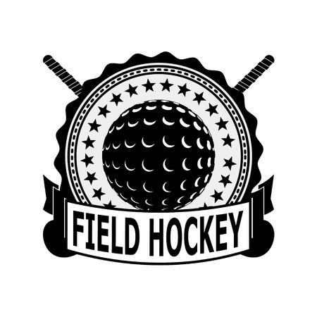 field hockey: Negro hockey sobre c�sped tarjeta de identificaci�n en un fondo blanco. Ilustraci�n vectorial