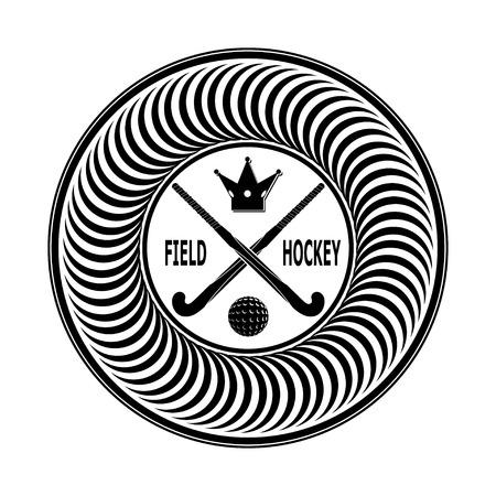 hockey sobre cesped: Insignia de hockey sobre c�sped sobre un fondo blanco. Ilustraci�n vectorial
