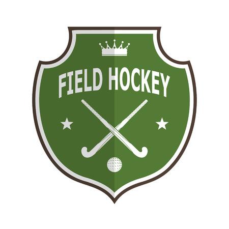 hockey sobre cesped: Logo insignia verde para el equipo de hockey sobre c�sped sobre un fondo blanco. Ilustraci�n vectorial