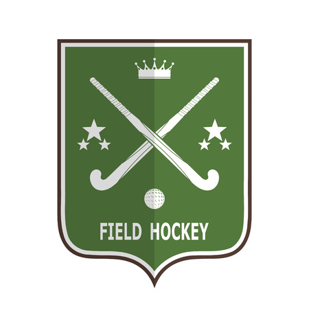 field hockey: Green badge for the team field hockey on a white background . Vector illustration
