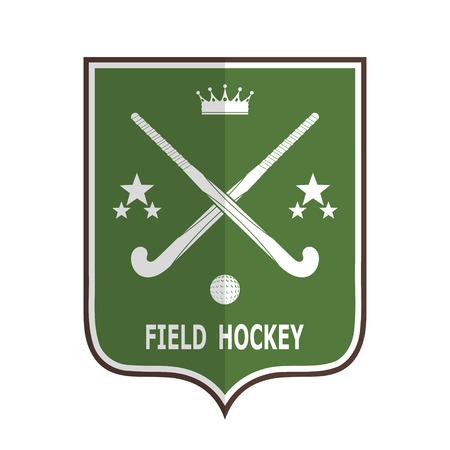 hockey sobre cesped: Insignia verde para el equipo de hockey sobre c�sped sobre un fondo blanco. Ilustraci�n vectorial