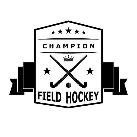 hockey sobre cesped: Negro emblema insignia para el equipo de hockey sobre c�sped con la cinta. Ilustraci�n vectorial