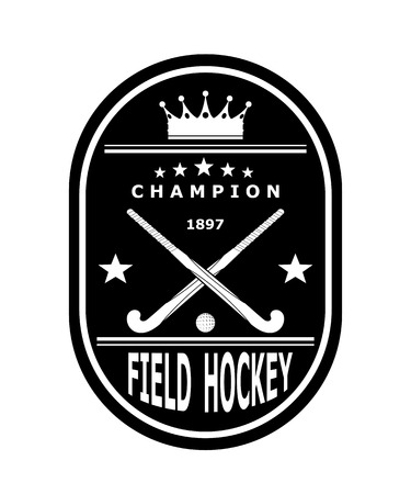hockey stick: Black badge emblem for the team field hockey with crown. Vector illustration Illustration