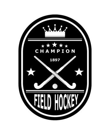 hockey sobre cesped: Negro emblema insignia para el equipo de hockey sobre c�sped con la corona. Ilustraci�n vectorial Vectores