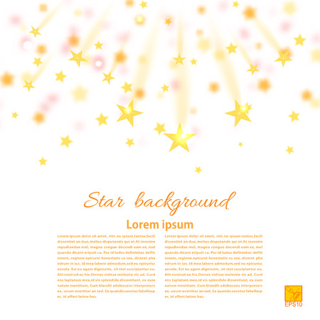 starfall: White festival background with falling gold stars, Starfall. Vector illustration
