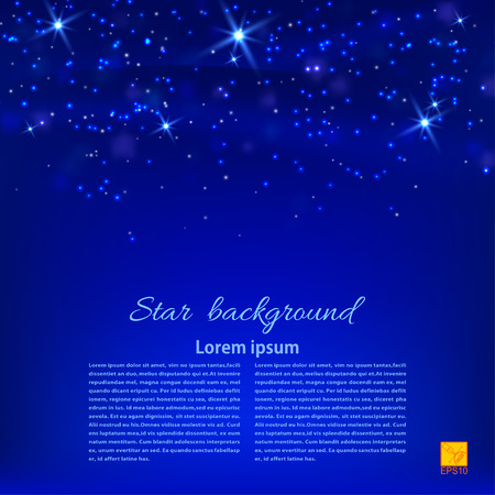 Blue abstract background with stars. Desktop Wallpaper or design element. Vector illustration Vector