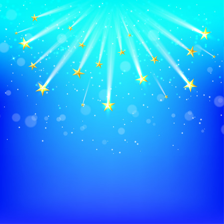 starfall: Blue  background with falling gold stars, Starfall. Vector illustration Illustration