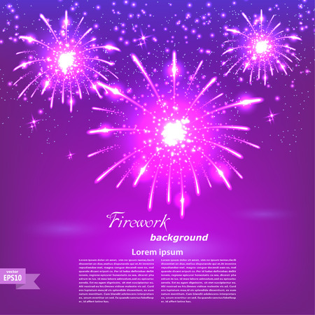 Celebratory fireworks on a purple background. Card. Vector illustration.