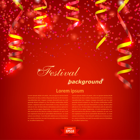 Red Festive background with bright red serpentine. Festival backdrop. Vector illustration