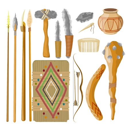 prehistoric man: Large Set Items ancient people on white background. Objects related prehistoric man. Vector illustratio