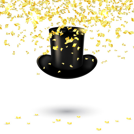 black men: Black men hat cylinder on a white background with gold confetti and serpentine. Vector illustration Illustration