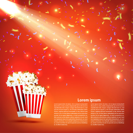 palomitas: Banner del cine con palomitas y un proyector en fondo rojo. Alimentos, palomitas de maíz. Diseñe sus los eventos de cine, cine y entretenimiento. Ilustración del vector.