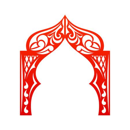 白い背景で隔離赤いインドのアーチ。カット。ようこそ!設計施工会社のサイト。ベクトルの図。