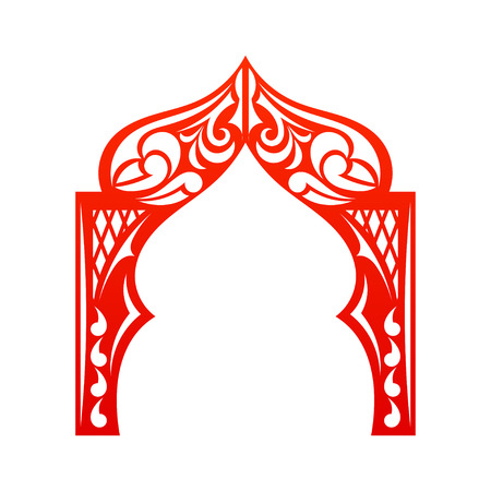 india culture: Red indian Arch isolated on white background. Cut. Welcome! Design your construction company site. Vector illustration. Illustration