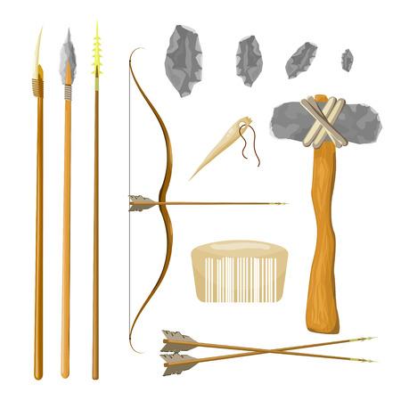 hombre prehistorico: Fije las herramientas del hombre prehistórico: Arco y flecha, la lanza, martillo, peine, aguja, piedra aislado en el fondo blanco. Ilustración del vector. Vectores