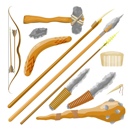 Set Items ancient people on white background. Vector illustration Vector