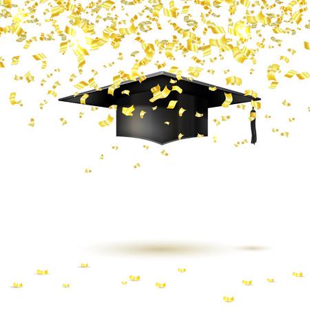 大学院キャップと白い背景に金色の紙吹雪。ベクトル図