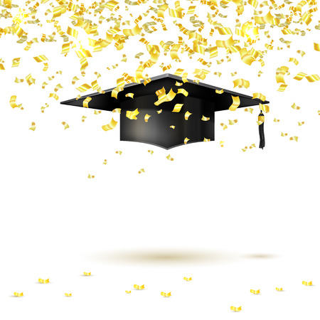 Graduate cap and golden confetti on a white background. Vector illustration