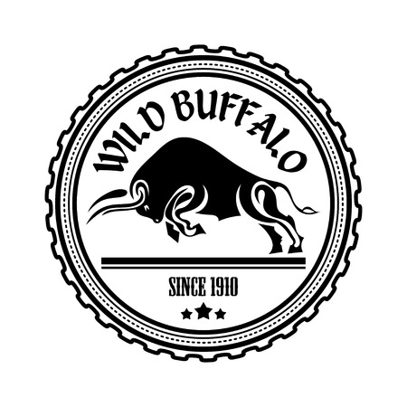 Logo, label two buffalo, bull fighting. Design badge for your farm, shop, market. Agriculture. Cattle. Fresh and quality meat and milk. Natural product. Logo. Vector illustration Illustration