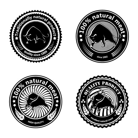 farm shop: Set of logos, labels with silhouettes of bulls. Design badge for your farm, shop, market. Agriculture. Cattle. Fresh and quality meat and milk. Natural product. Logo. Vector illustration
