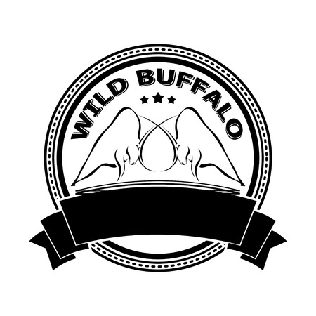 fighting bulls: Badge with two fighting bulls. Design badge for your farm, shop, market. Agriculture. Cattle. Fresh and quality meat and milk. Natural product.