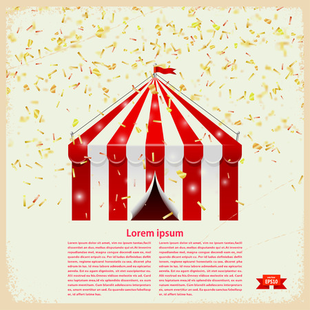 big top: Circus big top with gold confetti on a retro background. Vector illustration Illustration