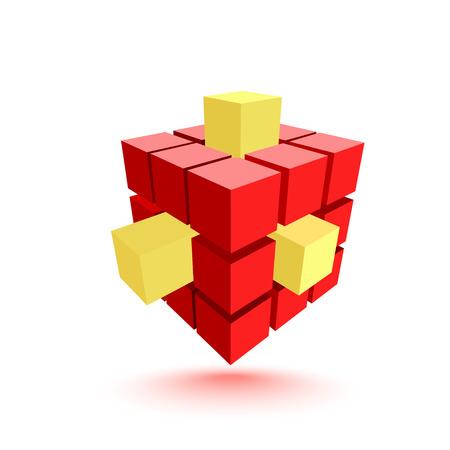 red cube: Estratto cubo rosso con elementi gialli. Concetto di business. Illustrazione vettoriale Vettoriali