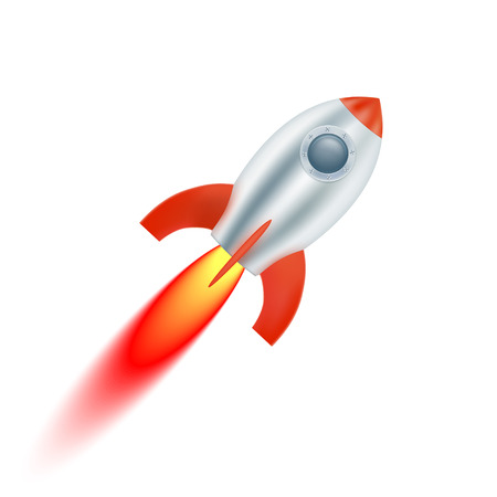 booster: Start spaceship with red fins. Vector illustration Illustration