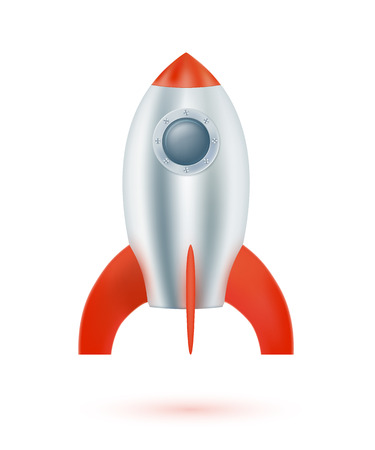 Space rocket on a white background. Vector illustration