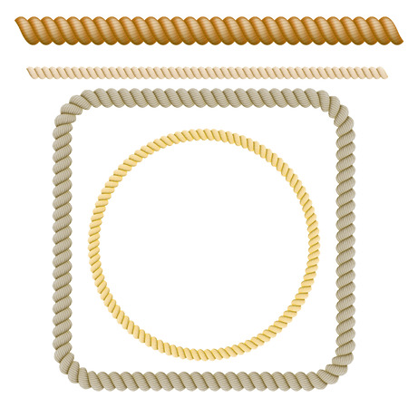 ロープの装飾的な要素のセット。ベクトル図