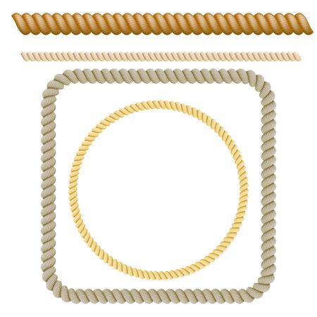 Zestaw elementów dekoracyjnych z liny. Ilustracji wektorowych