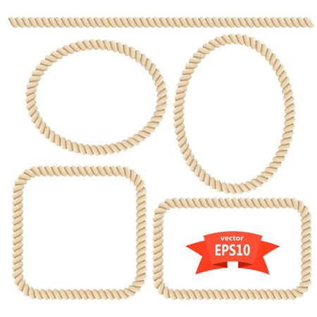 bordes decorativos: Marco de la cuerda Set. Los elementos de diseño. Ilustración vectorial Vectores